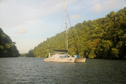Dreaming On anchored in the Rio Dulce
